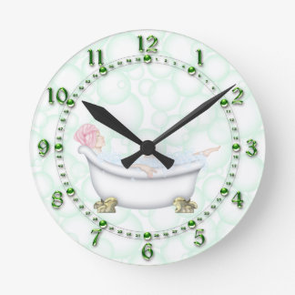 Green Bathroom Bubbles Wall Clock