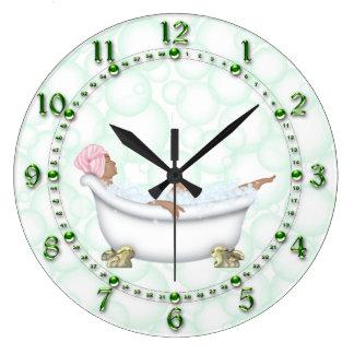 Green Bathroom Shiny Numbers Bubbles Clocks