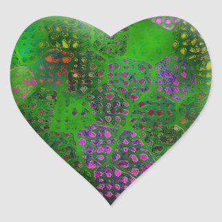 Green Batik #2 Heart Sticker