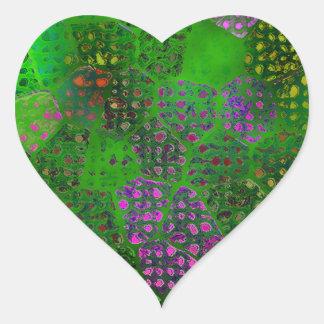 Green Batik Heart Sticker