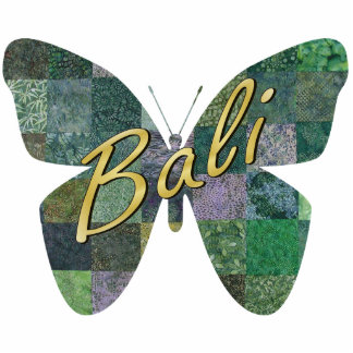 Green Batik Patchwork Butterfly Magnet Photo Sculpture Magnet