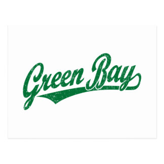 Green Bay script logo in green distressed Postcard