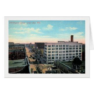 Green Bay, Wisconsin, Washington St. Vintage Card