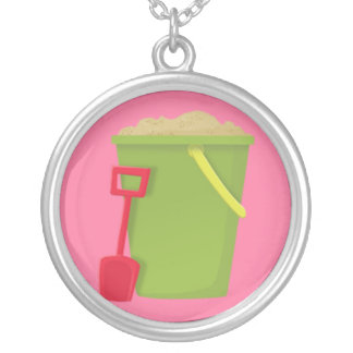 Green Beach Bucket and Red Spade Silver Plated Necklace