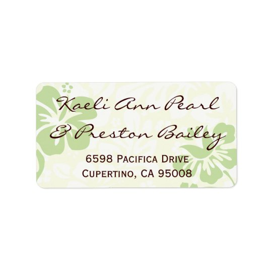 Green Beach Flowers Label