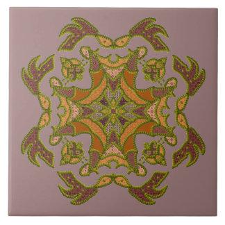 Green Beaded Patchwork Motif Tile