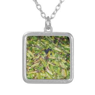 Green  Beans... Silver Plated Necklace