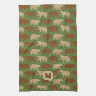 Green Bear Pattern Cabin Kitchen Towel
