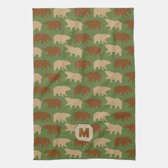 Green Bear Pattern Cabin Kitchen Towel