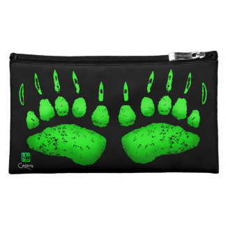 Green Bear Paws - Sueded Cosmetic Bag