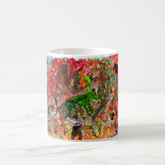 Green beast in red trees mug