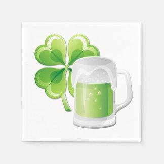 Green Beer and Shamrock Paper Napkin