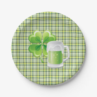 Green Beer and Shamrock St. Patricks Paper Plate 7 Inch Paper Plate