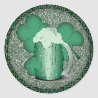 Green Beer Drinking Irish Classic Round Sticker