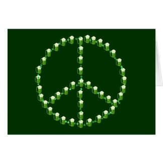 Green Beer Peace Sign Card