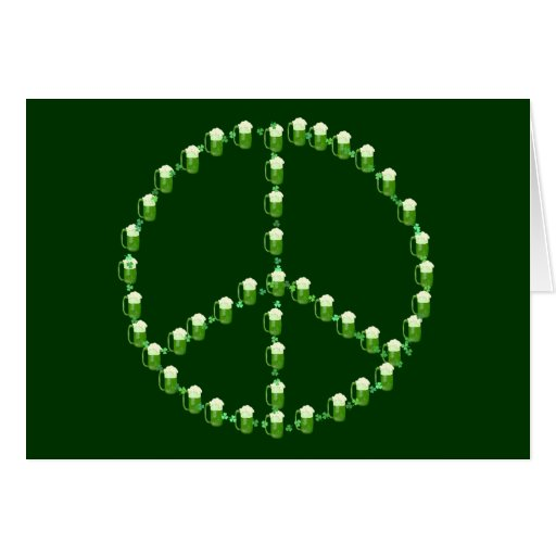 Green Beer Peace Sign Greeting Card
