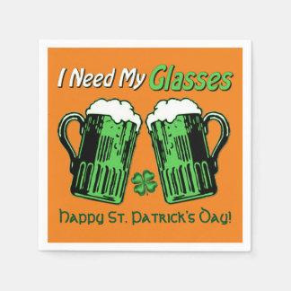 Green Beer St. Patrick's Day Orange Napkins Paper Napkins