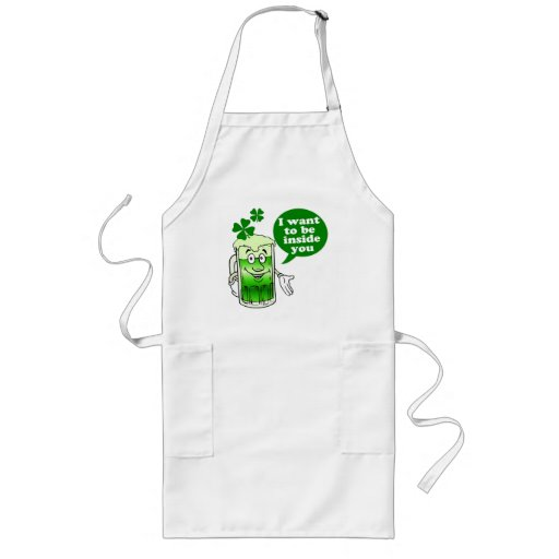 Green beer wants to be inside you long apron
