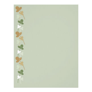 Green, beige and brown flowers and leaves letterhead