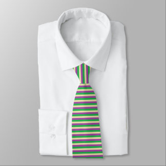 Green, Beige and Purple Stripes Tie