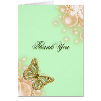 Green beige butterfly wedding card