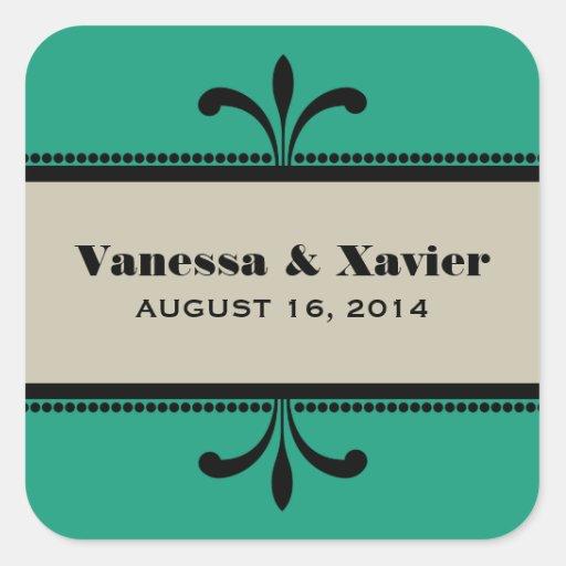 Green/Beige Fancy Art Deco Wedding Stickers