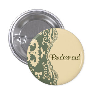 Green beige vintage country wedding bridesmaid pin