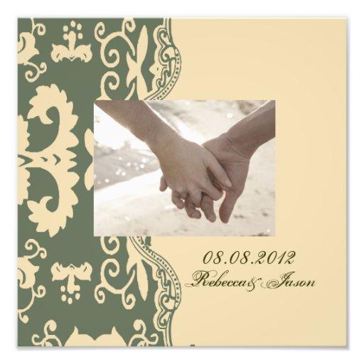 Green beige vintage western country wedding photo print