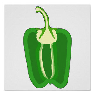 Green Bell Pepper. Halved. Poster