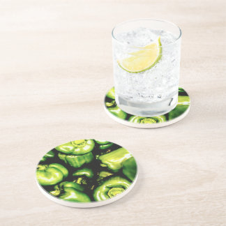Green Bell Peppers Drink Coasters