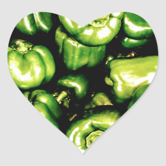 Green Bell Peppers Heart Sticker
