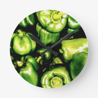 Green Bell Peppers Round Clock