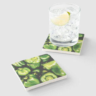 Green Bell Peppers Stone Coaster