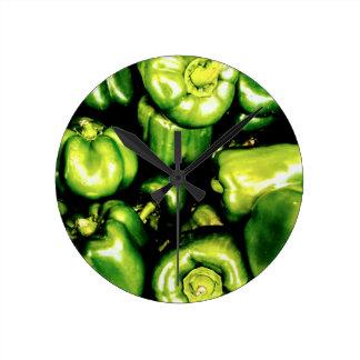 Green Bell Peppers Wallclocks