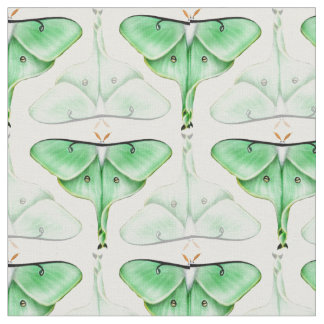 Green Bella Luna Moth Fabric