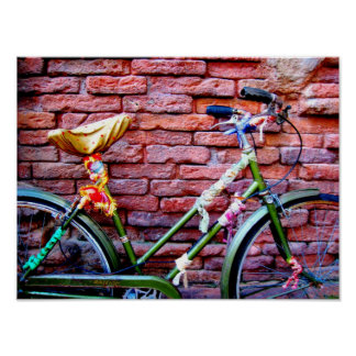 Green Bicycle Leaning Against a Brick Wall Poster