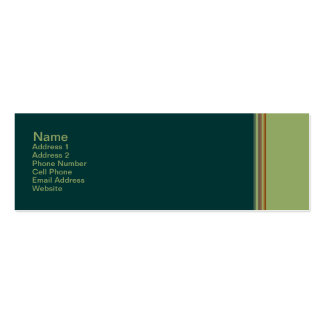 green biege striped pack of skinny business cards