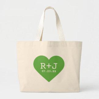 Green Big Heart Monogram Wedding Favor Large Tote Bag