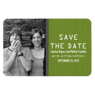 Green Binary Code Photo Save the Date Magnet