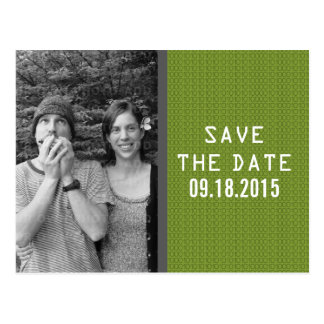 Green Binary Code Photo Save the Date Postcard