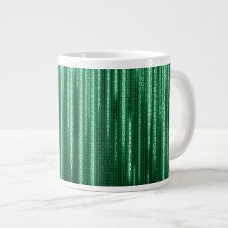 Green Binary Rain Jumbo Mug
