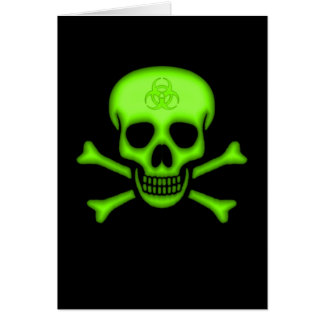 Green Biohazard Skull Card