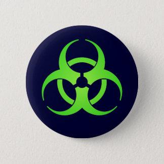 Green Biohazard Symbol Button
