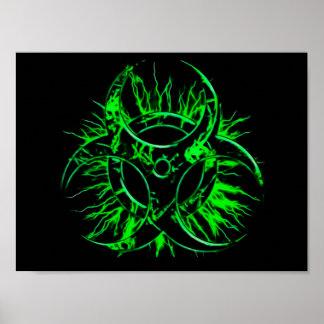 Green biohazard toxic fallout warning sign symbol
