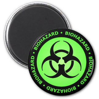 Green Biohazard Warning Magnet