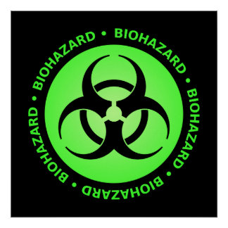 Green Biohazard Warning Poster