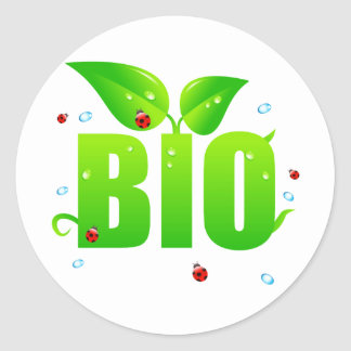 Green biologic organic natural classic round sticker