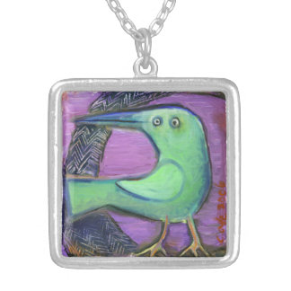 Green Bird charm Silver Plated Necklace