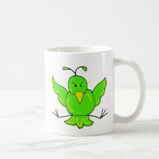 green bird, green bird coffee mug