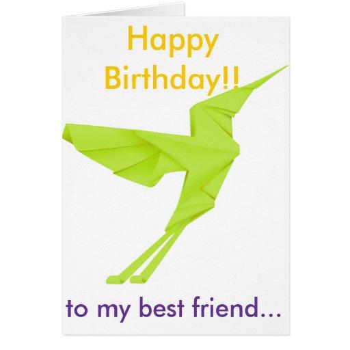 Green Bird Happy Birthday to my best friend Greeting Cards